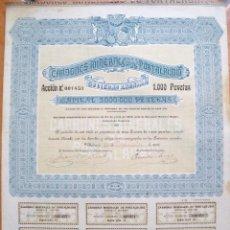 Coleccionismo Acciones Españolas: ACCIONES CARBONES MINERALES DE PORTALRUBIO 1918 VALENCIA. Lote 86739460