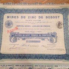 Coleccionismo Acciones Españolas: MINAS DE ZINC DE BOSOST (VALLE DE ARÁN, LÉRIDA). Lote 86878992