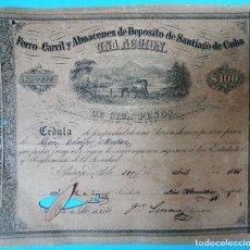 Coleccionismo Acciones Españolas: ACCION FERROCARRIL SANTIAGO DE CUBA , 100 PESOS 1861 , EPOCA COLONIA ESPAÑOLA , RARA , ORIGINAL , J. Lote 87444492