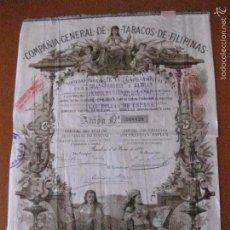 Coleccionismo Acciones Españolas: ACCION COMPAÑIA GENERAL DE TABACOS DE FILIPINAS DEL AÑO 1882 . Lote 87502280
