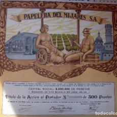Coleccionismo Acciones Españolas: ACCION PAPELERA DEL MIJARES , BURRIANA CASTELLON , 500 PESETAS 1942 ,CON CUPONES, ORIGINAL ,ACC. Lote 143248137