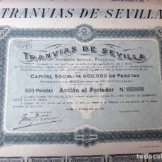 Coleccionismo Acciones Españolas: ACCION TRANVIAS DE SEVILLA 1946, 500 PESETAS , SIN RELLENAR CON CUPONES , ORIGINAL ,ACC. Lote 107510046