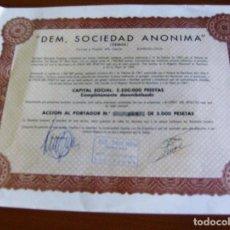 Coleccionismo Acciones Españolas: DEM SOCIEDAD ANONIMA (DEMSA) BARCELONA 5 MAYO 1967. Lote 90342752