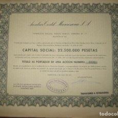 Coleccionismo Acciones Españolas: ACCION AUXILIAR TEXTIL MANRESANA 1961.. Lote 90636630