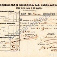 Coleccionismo Acciones Españolas: SEVILLA,1858, DIVIDENDO SOCIEDAD MINERA LA INDIANA, MINA SAN JOSE Y EL COLON, RARISIMO. Lote 90658460