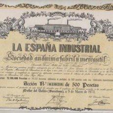 Coleccionismo Acciones Españolas: ACCION DE LA ESPAÑA INDUSTRIAL SA FABRIL Y MERCANTIL 1973. Lote 90821010