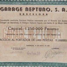 Coleccionismo Acciones Españolas: ACCION DEL GARAGE NEPTUNO SA BARCELONA 1948. Lote 90821835