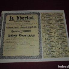 Coleccionismo Acciones Españolas: ANTIGUA ACCION ESPAÑOLA,LA LIBERTAD,DEL 1922. Lote 94448778