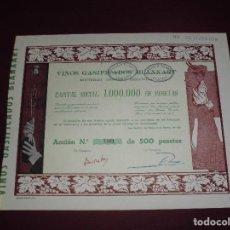 Coleccionismo Acciones Españolas: ANTIGUA ACCION ESPAÑOLA,VINOS GASIFICADOS BLANXART,DEL 1916. Lote 94450222
