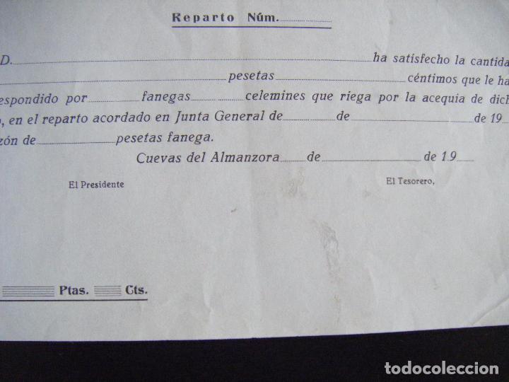 Coleccionismo Acciones Españolas: JML REPARTO HORAS DE AGUA INTONSO SOCIEDAD DE HACENDADOS DE JUCAINI EL BAJO, CUEVAS, ALMERIA. 19.. - Foto 3 - 94591591