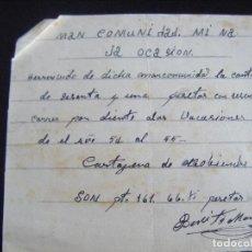 Coleccionismo Acciones Españolas: JML MINAS, RECIBÍ RECIBO MANCOMUNIDAD MINA LA OCASIÓN, CARTAGENA, NOVIEMBRE 1954. MURCIA. 15X13 CM.. Lote 94748991
