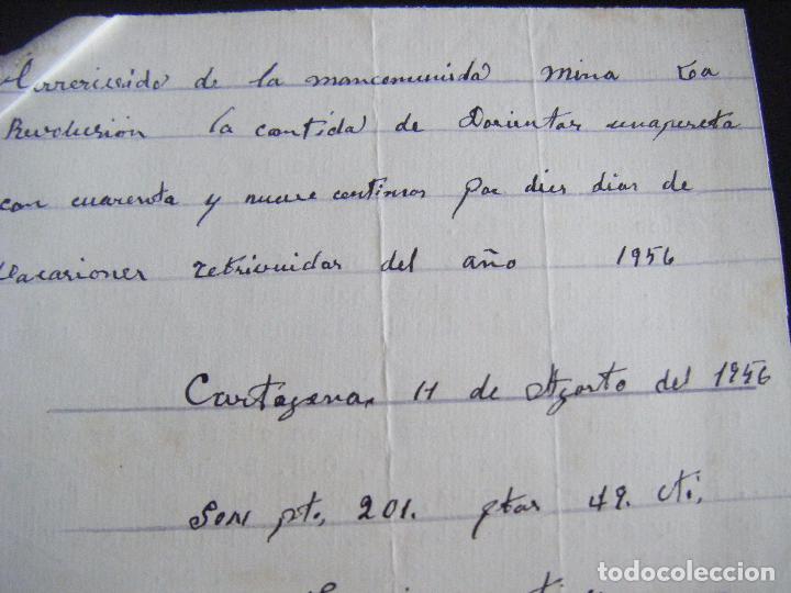 JML MINAS RECIBÍ, RECIBO MANCOMUNIDAD MINA LA REVOLUCIÓN, CARTAGENA 11 AGOSTO DE 1956. MURCIA. (Coleccionismo - Acciones Españolas)