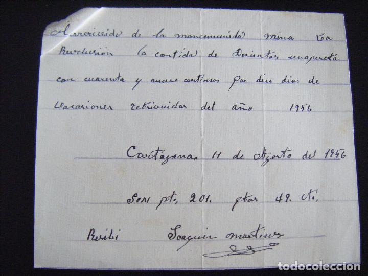 Coleccionismo Acciones Españolas: JML MINAS RECIBÍ, RECIBO MANCOMUNIDAD MINA LA REVOLUCIÓN, CARTAGENA 11 AGOSTO DE 1956. MURCIA. - Foto 2 - 94749207