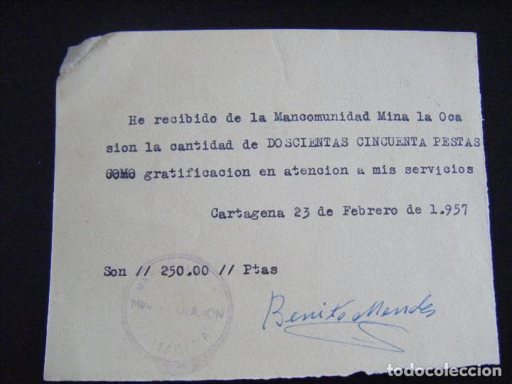 JML MINAS, RECIBÍ, RECIBO MANCOMUNIDAD MINA LA OCASIÓN, CARTAGENA 23 FEBRERO 1957. MURCIA. (Coleccionismo - Acciones Españolas)