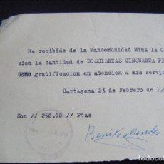Coleccionismo Acciones Españolas: JML MINAS, RECIBÍ, RECIBO MANCOMUNIDAD MINA LA OCASIÓN, CARTAGENA 23 FEBRERO 1957. MURCIA.. Lote 94749447