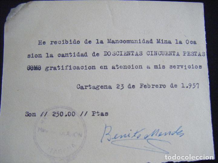 Coleccionismo Acciones Españolas: JML MINAS, RECIBÍ, RECIBO MANCOMUNIDAD MINA LA OCASIÓN, CARTAGENA 23 FEBRERO 1957. MURCIA. - Foto 2 - 94749447