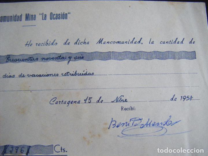 Coleccionismo Acciones Españolas: JML MINAS, RECIBÍ, RECIBO MANCOMUNIDAD MINA LA OCASIÓN, CARTAGENA 15 NOVIEMBRE DE 1958. MURCIA. - Foto 2 - 223150442