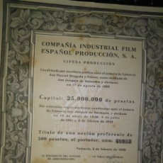 Coleccionismo Acciones Españolas: TÍTULO DE UNA ACCIÓN DE 500 PESETAS- COMPAÑÍA INDUSTRIAL FILM ESPAÑOL PRODUCCIÓN, CIFESA 1942.. Lote 94899396