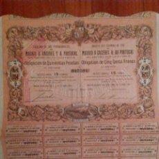 Coleccionismo Acciones Españolas: ACCIÓN FERROCARRIL MADRID A CÁCERES Y A PORTUGAL. OBLIGACIÓN DE 500 PESETAS.1881.. Lote 95089687