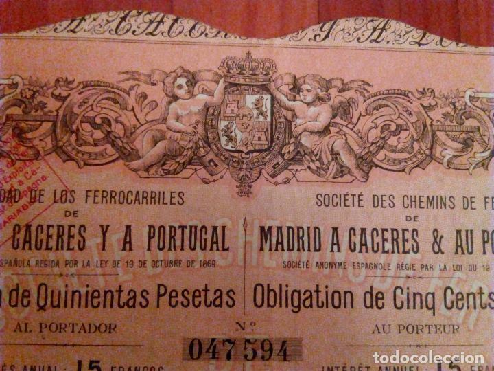 Coleccionismo Acciones Españolas: Acción Ferrocarril Madrid a Cáceres y a Portugal. Obligación de 500 Pesetas.1881. - Foto 3 - 95089687