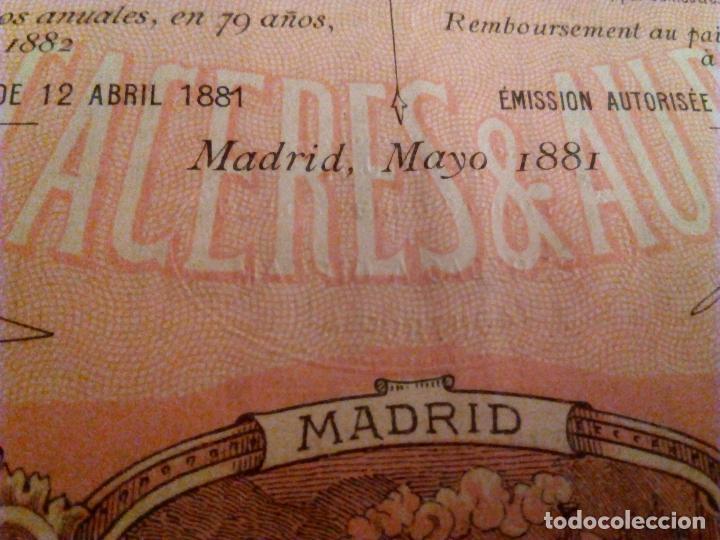 Coleccionismo Acciones Españolas: Acción Ferrocarril Madrid a Cáceres y a Portugal. Obligación de 500 Pesetas.1881. - Foto 4 - 95089687