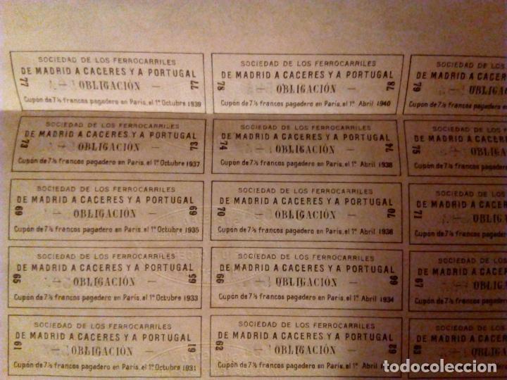 Coleccionismo Acciones Españolas: Acción Ferrocarril Madrid a Cáceres y a Portugal. Obligación de 500 Pesetas.1881. - Foto 5 - 95089687
