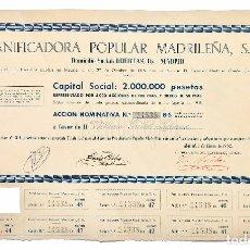 Coleccionismo Acciones Españolas: ACCION DE LA PANIFICADORA POPULAR MADRILEÑA AÑO 1962 ACCIONES MADRID. Lote 95135855