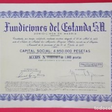 Coleccionismo Acciones Españolas: ACCION FUNDICIONES DEL ESTANDA S.A. - DOMICILIADA EN MADRID, AÑO 1953 - 24X33 CM... R-6903. Lote 95181447