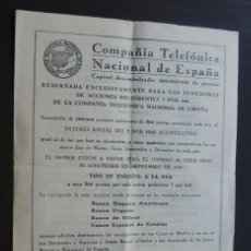 Colecionismo Ações Espanholas: SUSCRIPCION DE ACCIONES PREFERENTES / COMPAÑIA TELEFONICA DE ESPAÑA / MADRID 1934. Lote 95698315