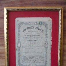 Coleccionismo Acciones Españolas: ACCIÓN LA NAVEGACIÓN SUBMARINA 1864 FIRMADA NARCISO MONTURIOL *ORIGINAL*. Lote 96234359