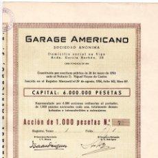 Coleccionismo Acciones Españolas: ACCION 1000 PTAS. GARAGE AMERICANO. VIGO GALICIA 1956 ACCIONES. Lote 96614995