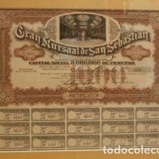 Coleccionismo Acciones Españolas: ACCION CASINO KURSAAL DE SAN SEBASTIAN 1923. Lote 97194007