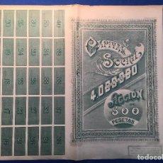 Coleccionismo Acciones Españolas: 2 ACCIONES MINERAS CON NÚMEROS CONSECUTIVOS. VILLAODRID . BILBAO . AÑO 1900. Lote 97902779
