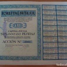 Coleccionismo Acciones Españolas: FORESTAL BEYA 1921 BARCELONA ACCION Nº 3. Lote 96152980