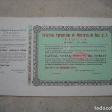 Collectionnisme Actions Espagne: LOTE DE 10 ACCIONES DE FÁBRICAS AGRUPADAS DE MUÑECAS DE ONIL S.A. ALICANTE - FAMOSA 1973.. Lote 217349366