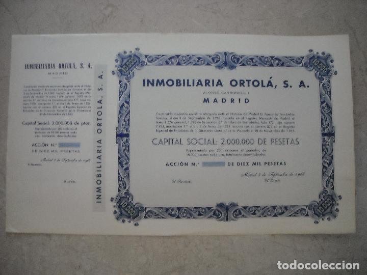 LOTE DE 16 ACCIONES DE INMOBILIARIA ORTOLÁ S.A - ACCIONES DE 10000 PESETAS - DE 1963 (Coleccionismo - Acciones Españolas)