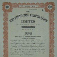 Coleccionismo Acciones Españolas: THE RIO TINTO ZINC CORPORATION LIMITED - CERTIFICADO DE 100 ACCIONES (1948). Lote 98636391