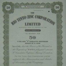 Coleccionismo Acciones Españolas: THE RIO TINTO ZINC CORPORATION LIMITED - CERTIFICADO DE 50 ACCIONES (1948). Lote 98636443