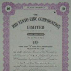 Coleccionismo Acciones Españolas: THE RIO TINTO ZINC CORPORATION LIMITED - CERTIFICADO DE 10 ACCIONES (1948). Lote 98636499