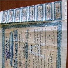 Coleccionismo Acciones Españolas: ACCION COLON COMPAÑIA TRANSAEREA ESPAÑOLA - MADRID 24 MAYO 1928 - (ZEPELIN). Lote 90342920