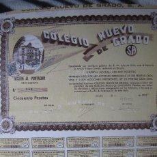 Coleccionismo Acciones Españolas: COLEGIO NUEVO DE GRADO. S. A. ACCION AL PORTADOR PREFERENTE. AÑO 1935. CINCUENTA PESETAS.. Lote 99430835