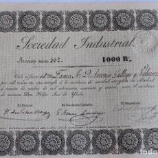 Coleccionismo Acciones Españolas: ACCION SOCIEDAD INDUSTRIAL DE 1000 REALES, MADRID, 1844, Nºº 162. Lote 99633507