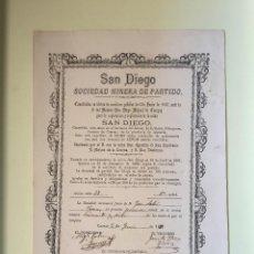 Coleccionismo Acciones Españolas: CUEVAS ALMANZORA- ALMERIA - SAN DIEGO SOCIEDAD MINERA DE PARTIDO 1.887. Lote 99661087
