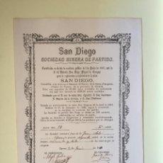 Coleccionismo Acciones Españolas: CUEVAS ALMANZORA- ALMERIA - SAN DIEGO SOCIEDAD MINERA DE PARTIDO 1.887. Lote 99661227