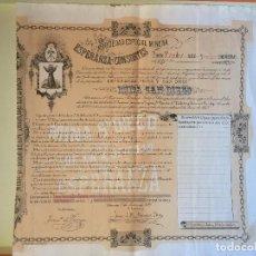 Coleccionismo Acciones Españolas: CUEVAS ALMANZORA- ALMERIA S.E.M. ESPERANZA Y CONSORTES MINA SAN DIEGO 1.896. Lote 99663431
