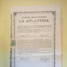 Coleccionismo Acciones Españolas: CUEVAS ALMANZORA- ALMERIA S.M. LA ATLANTIDA 1.895. Lote 99708315