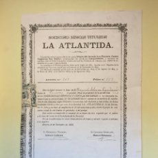 Coleccionismo Acciones Españolas: CUEVAS ALMANZORA- ALMERIA S.M. LA ATLANTIDA 1.895. Lote 99708447