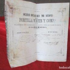 Coleccionismo Acciones Españolas: ACCION DE 200 ESCUDO DEL 1869 SEVILLA PORTILLA WHITE Y COMP ELABORACION DE HIERROS Y DE MAQUINARI. Lote 99728983