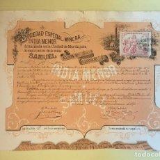 Coleccionismo Acciones Españolas: EL ALGAR- CARTAGENA-MURCIA S.E.M. INDIA MENOR 1.879. Lote 99719811