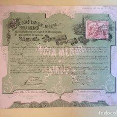 Coleccionismo Acciones Españolas: EL ALGAR- CARTAGENA-MURCIA S.E.M. INDIA MENOR 1.879. Lote 99720291